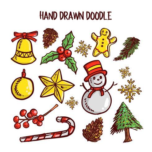 Jeu d'art de griffonnage de Noël. Illustration vectorielle vecteur