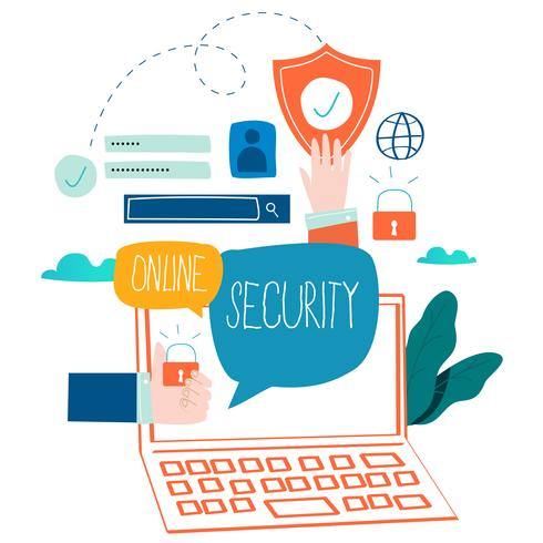 Online security, data protection, internet security, secure internet browsing flat vector illustration design for mobile and web graphics