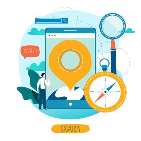 App di navigazione mobile vettore
