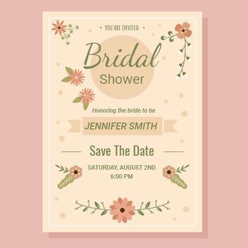 Vecteur d'invitation de douche nuptiale