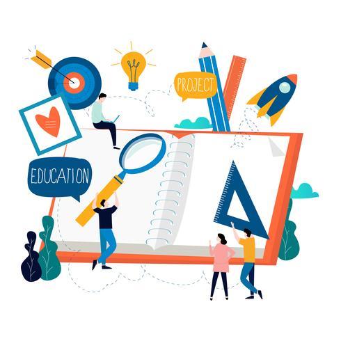 Educación, cursos de formación online, educación a distancia. vector