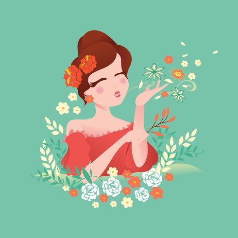 Chica soplando hojas y flores