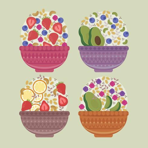 Vector colorido Acai Bowls
