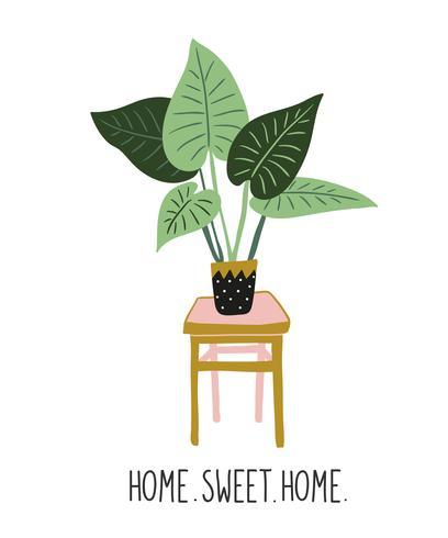 """Handgezeichnete tropische Zimmerpflanzen. Vektordruckentwurf mit Beschriftung - """"Zuhause süßes Zuhause""""."""