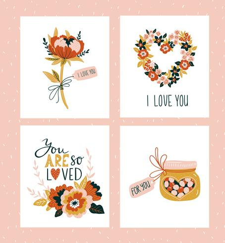 Vektor-Illustration Valentinsgrußtagesgrußkartenschablonen mit Liebesbeschriftung.