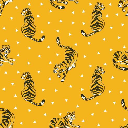 Vector naadloos patroon met tijgers en driehoeken die op de witte achtergrond worden geïsoleerd. Ontwerp van dierenstof.