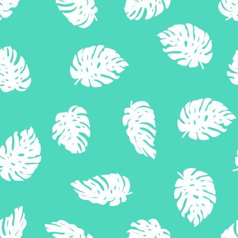 Sin fisuras patrón tropical dibujado a mano. Vector de fondo repetido con hojas de monstera.