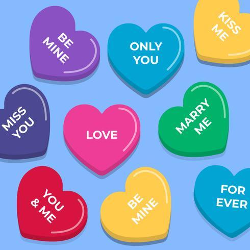 Insieme di elementi senza cuciture di vettore di Candy Conversation Hearts