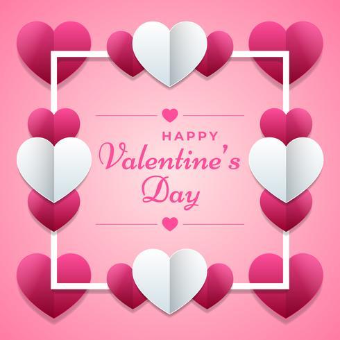 Cartel rosado del día de San Valentín con el fondo del ornamento de los corazones