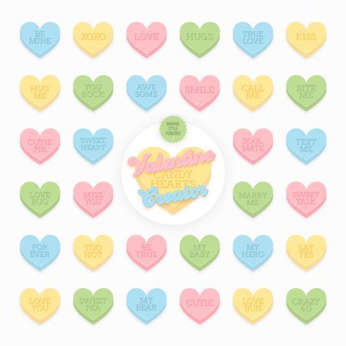 valentijn snoep harten vector pack