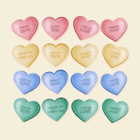 Vector dibujado a mano Valentine Candy Hearts
