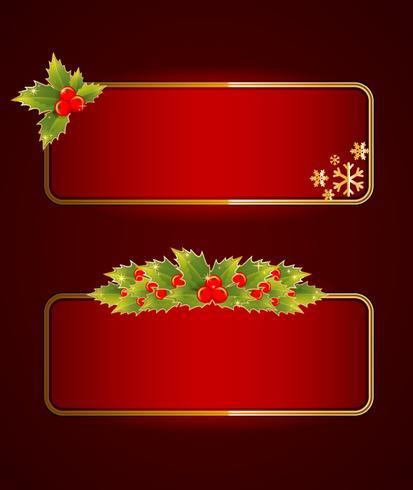 Bannières de Noël avec des baies de houx