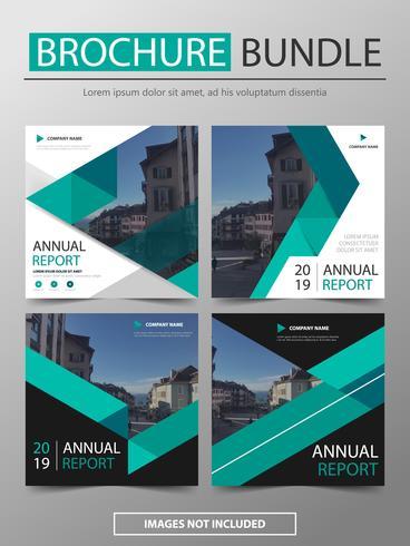 Relatório anual de vetor verde Folheto folheto folheto modelo design set