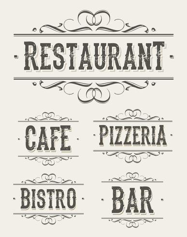 Banner vintage ristorante e pizzeria vettore