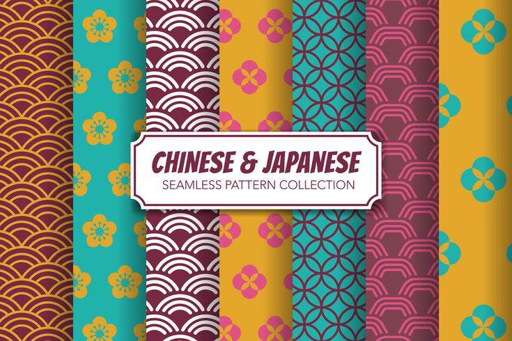 Conjunto de padrão sem emenda chinês e japonês. Ilustração vetorial