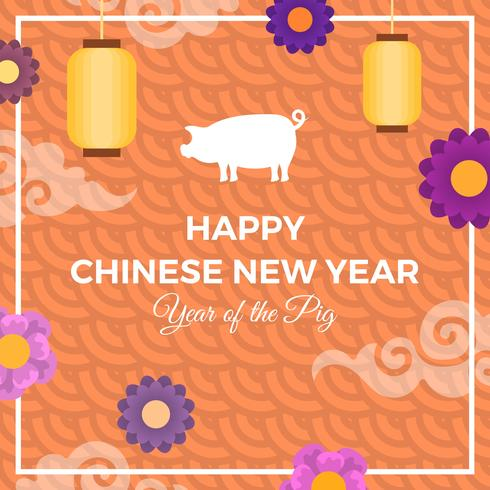 Flat Orange Chinese New Year Of Pig 2019 Vector Background Illustration