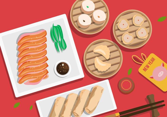 Kinesisk nyårsgris middag vektor illustration
