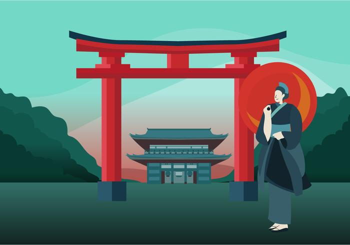 Japan Iconic Background Vector Illustration