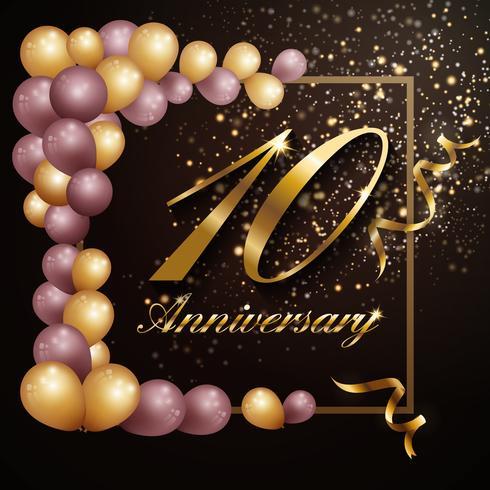 Diseño de banner de fondo de celebración de aniversario de 10 años con lu vector