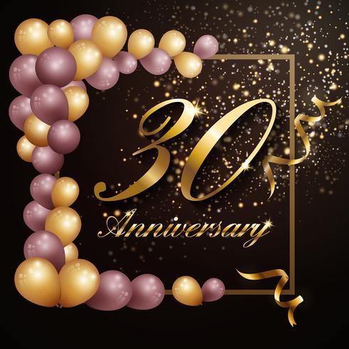 Diseño de banner de fondo de celebración de aniversario de 30 años con lu