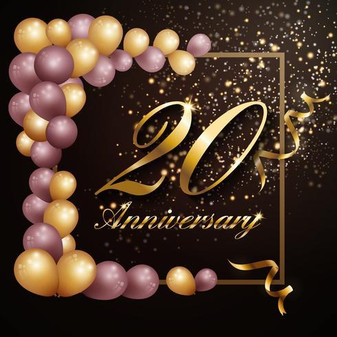 20 años aniversario celebración fondo banner diseño con lu