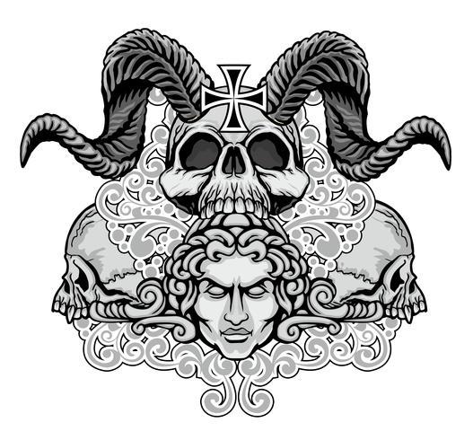 grunge schedel wapenschild vector