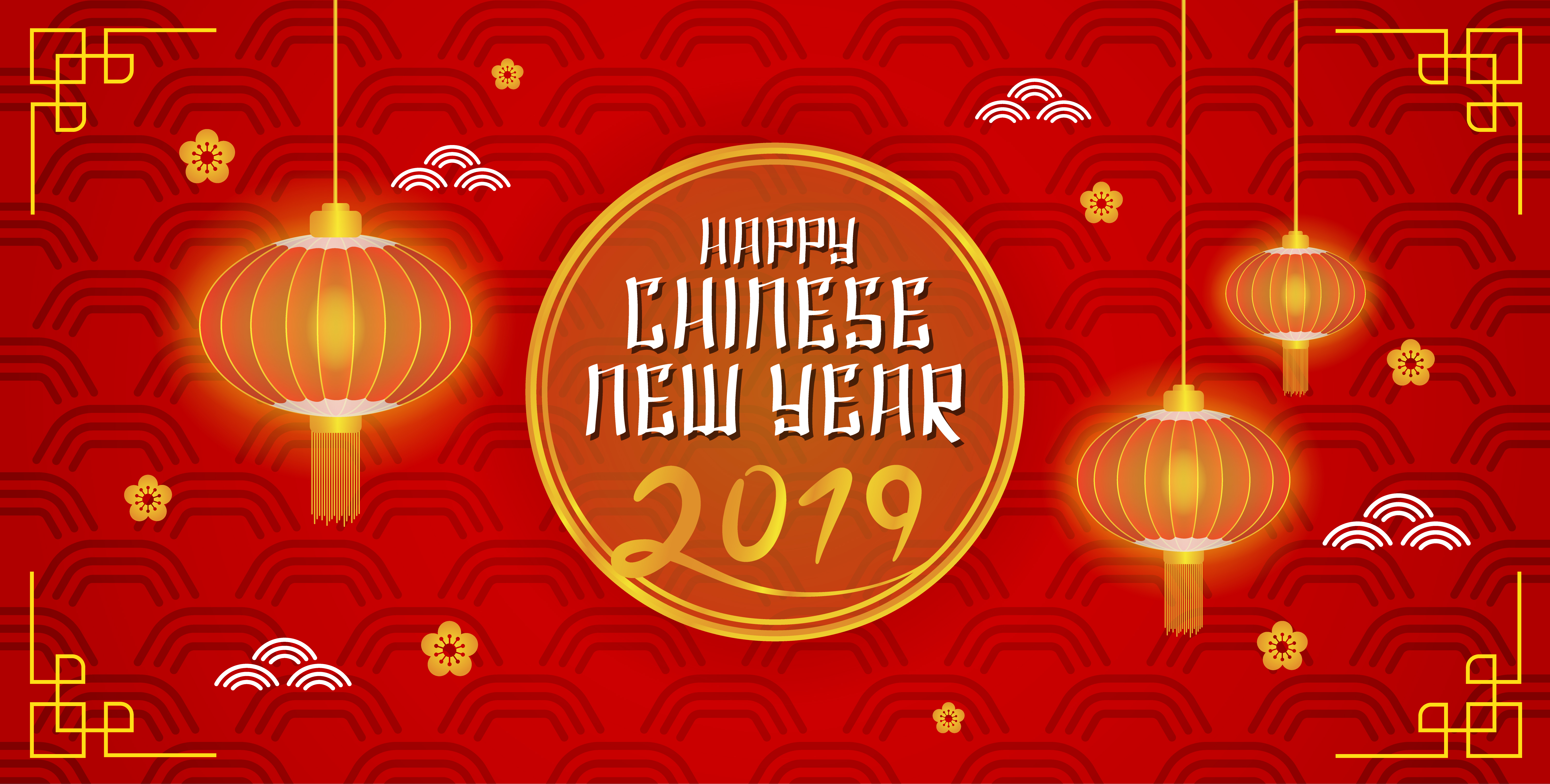 Happy Chinese New Year 2019 Banner Background. vector ...