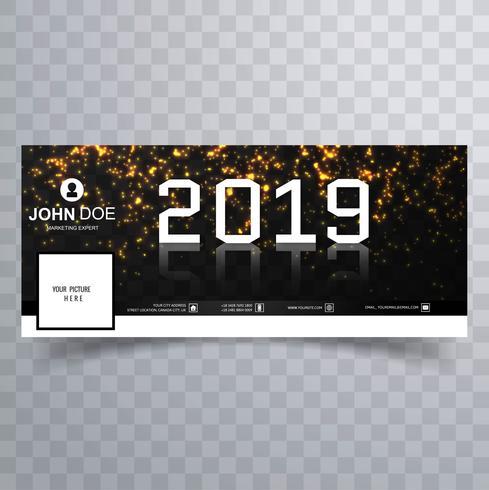 2019 nuovo anno bello vettore del modello della bandiera della copertura di facebook