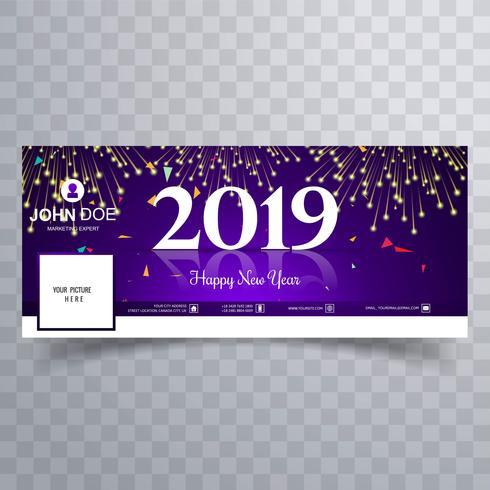 Elegante plantilla de banner de portada de facebook de año nuevo 2019