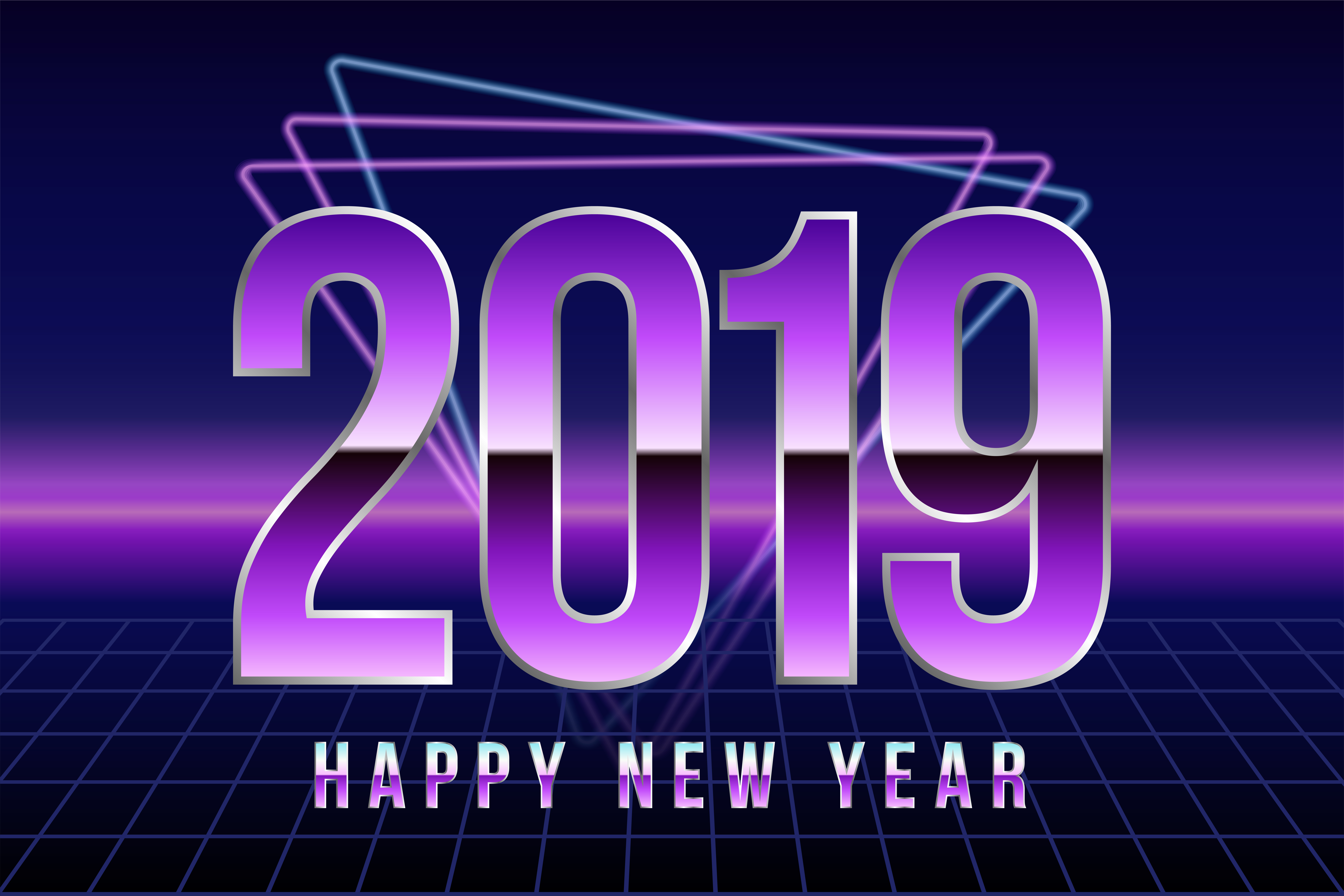 Happy New 2019 Year Vectot Illustration In Retro Disco