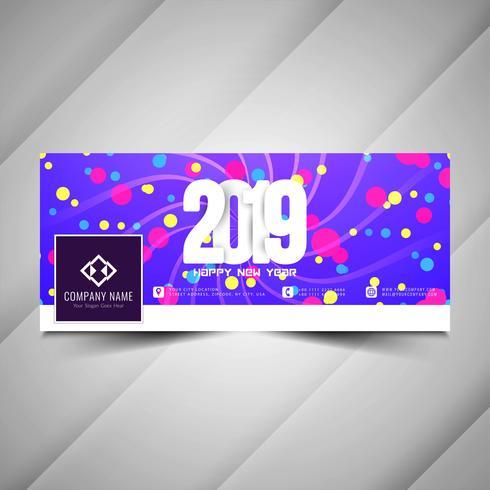 Año nuevo 2019 elegante banner de redes sociales plantilla