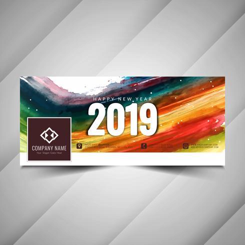 Diseño de banner decorativo año nuevo 2019 redes sociales