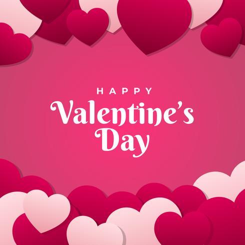 Struttura dell'estratto di San Valentino con l'illustrazione di vettore del cuore della carta tagliata