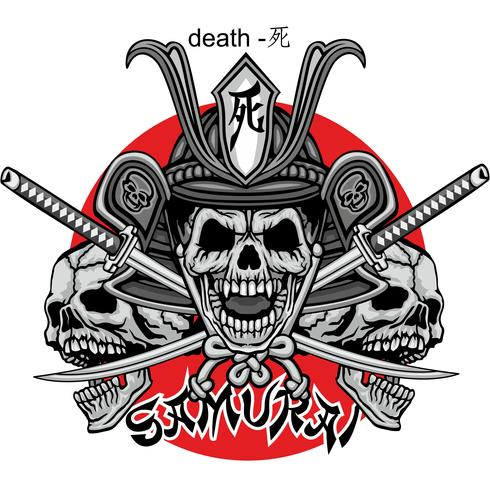 samurai skull sign vector