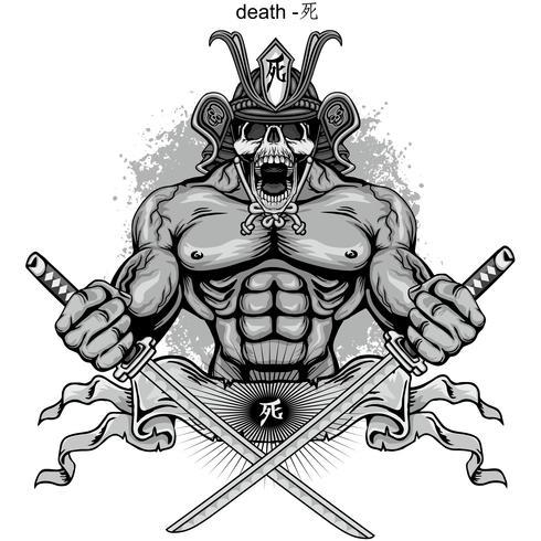 signo del cráneo samurai vector