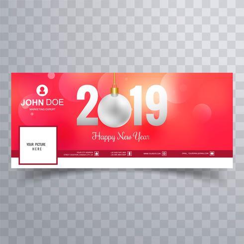 2019 nuovo anno di Facebook copertina banner modello di progettazione vettore