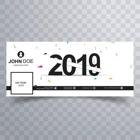 Elegante modello di banner per copertina facebook di capodanno 2019 vettore