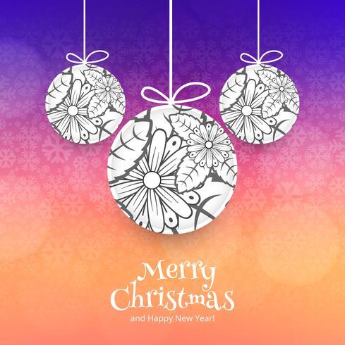 Fondo colorido de la bola de la celebración de la feliz Navidad