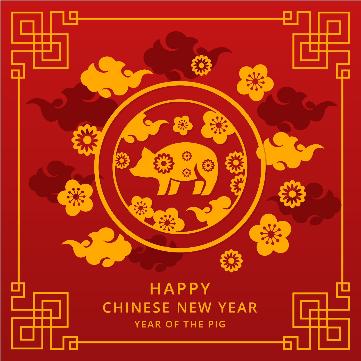 Chinese happy new year 2019 vector download free vectors - What is the lucky color of the year 2019 ...