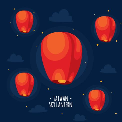 Vecteur de lanterne rouge ciel de Taiwan