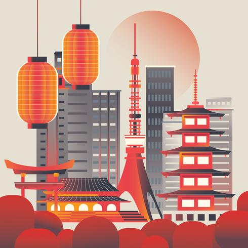Illustration von Tokyo-Stadtskylinen bei Sonnenaufgang