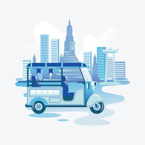 Tuk-tuk bleu sur la route à bangkok vecteur