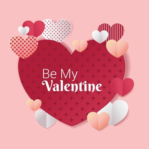 Cornice di San Valentino con cuore di carta tagliata