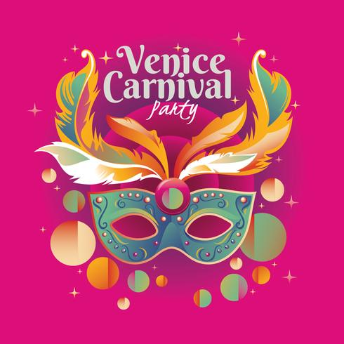Happy Venice Carnival Party Concept with Venetian Mask Illustration