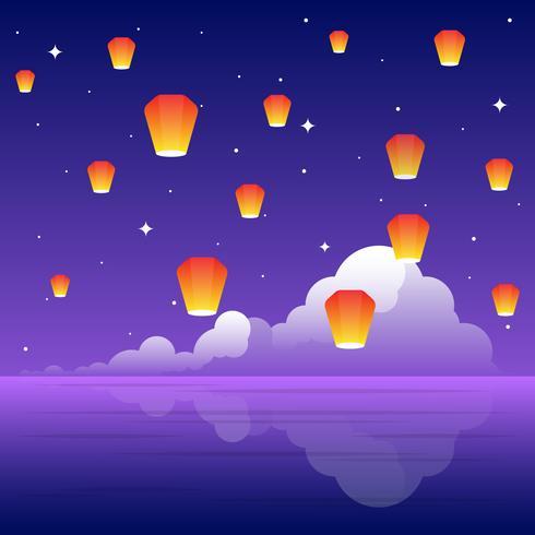 Ilustração do Festival das Lanternas do Céu vetor