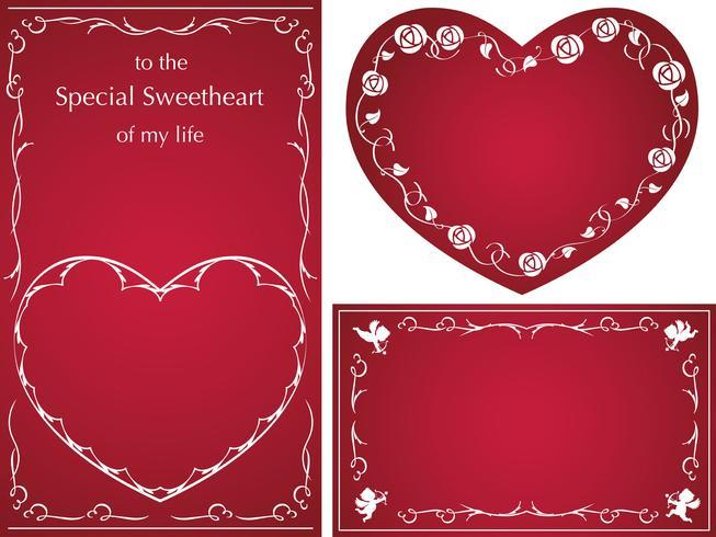 Set di carte vettoriali / cornici per San Valentino, ecc.