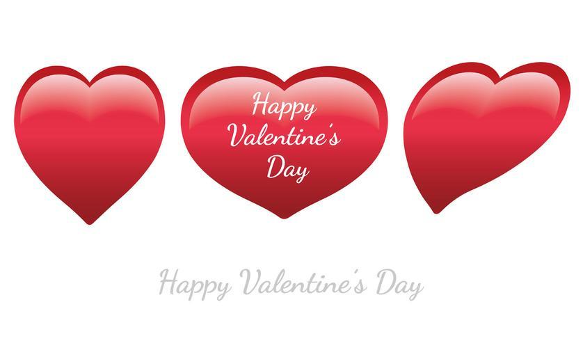 Set di icone lucide a forma di cuore di San Valentino.