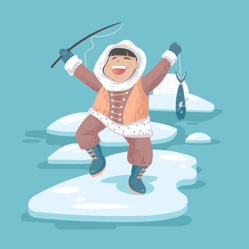 Happy Eskimo Fishing for Fish