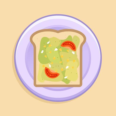 Toast di avocado sul piatto