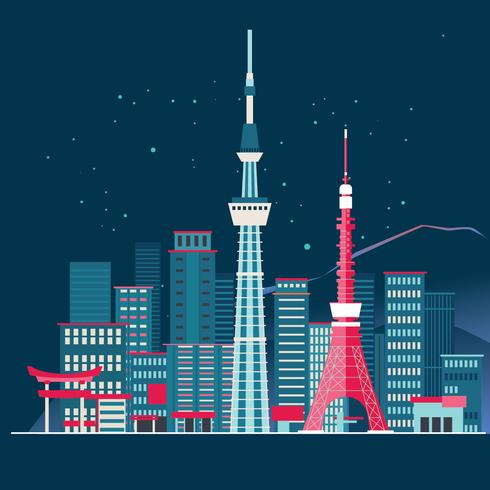 Tokyo City Skyline Detailed Silhouette and Fuji Mountain Background vector